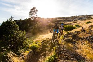 Specialized bikers riding on a rough terrain