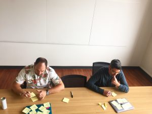 John Gentle and Jed Fugle of roboboogie collaborating at conference table