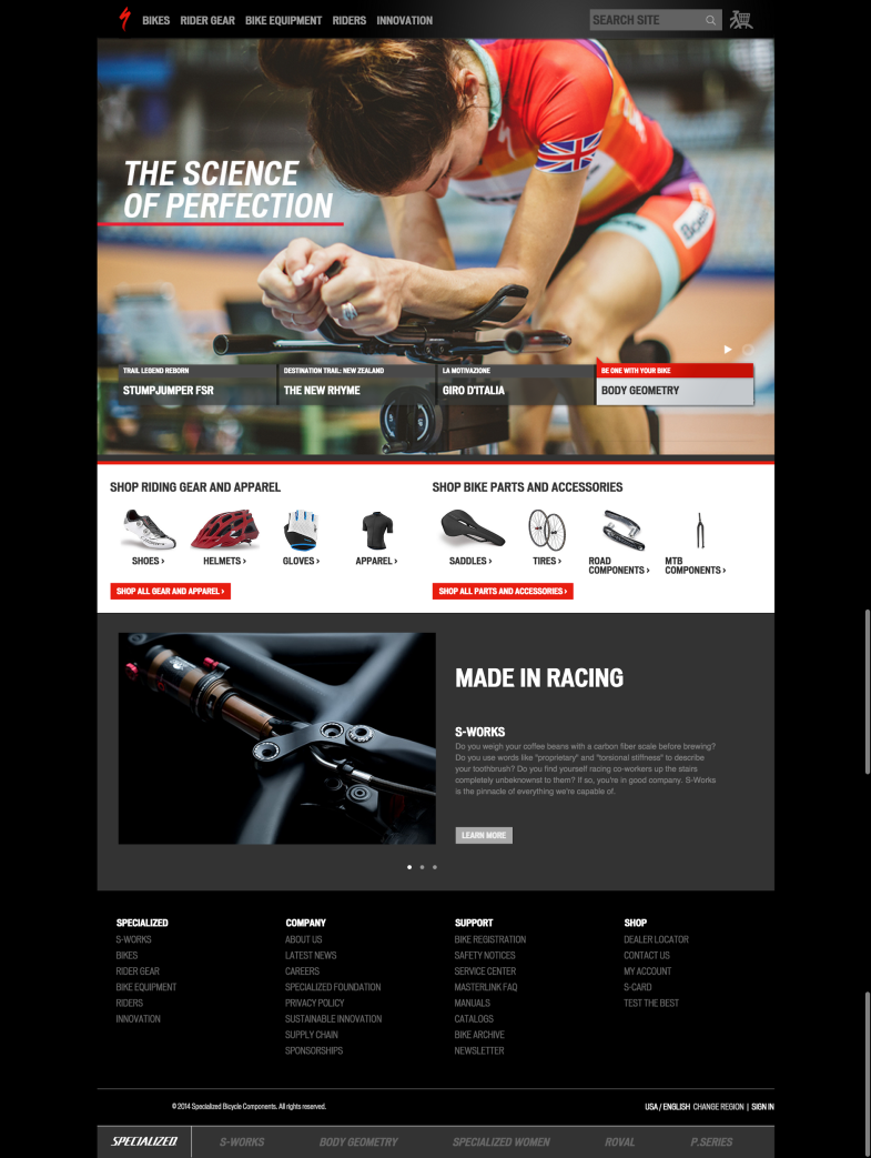 Specialized web redesign