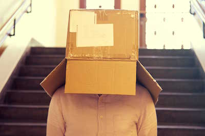 roboboogie Optimization Strategist, Duncan Lawrence with a cardboard box on his head