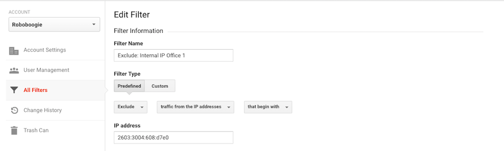 Internal IP filter block